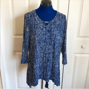 Blue and White Tunic Top