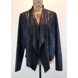Knox Rose Black faux suede flyaway jacket