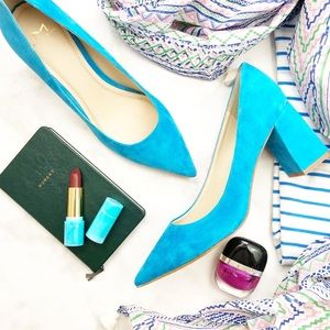 Bright Blue / Cyan Suede Pointed Block Heel Pumps