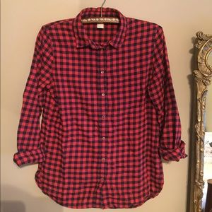 H&M red and black checkered flannel size 2