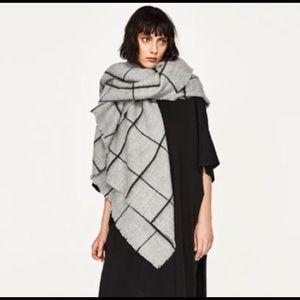 Zara Windowpane Blanket Scarf