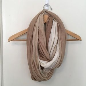 Two toned white and tan infinity scarf