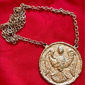 Gold-tone Peace Dove Medallion Statement Necklace