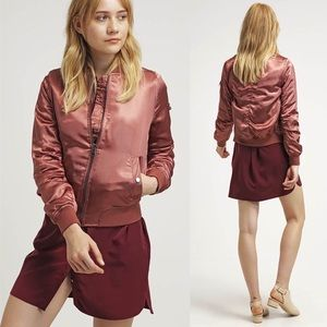 [Topshop] MA1 Shiny Mauve Pink Satin Bomber Jacket