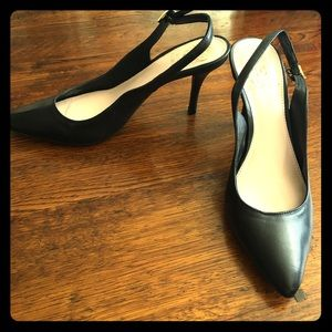 NWOT Vince Camuto black leather slingback heels 7