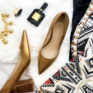 Dark Gold Leather Pointed Toe Block Heel Pumps