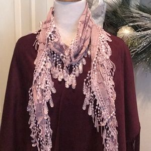 Mauve lightweight scarf with crocheted fringe