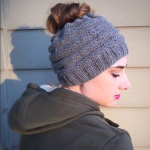 Messy Bun Hats Gray (Made to Order)