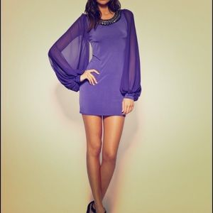 Purple ASOS Chiffon Sleeve Dress