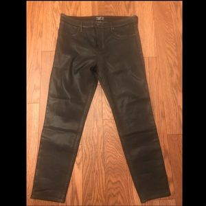 Abercrombie and Fitch coated olive jeans
