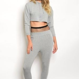 Grey Stretch Crop Hoodie and Sweatpant Set NWOTs