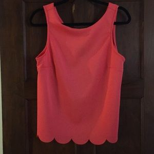 Coral scalloped bottom top