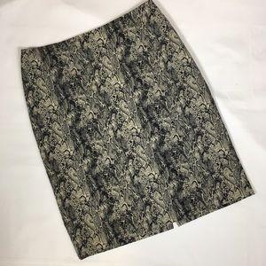 Talbots snakeskin printed pencil skirt size 10