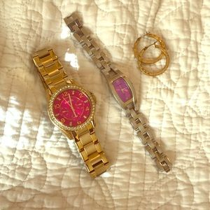 Fossil watch and earrings bundle