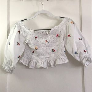 Zara Peasant Crop Top with Embroidered Flowers