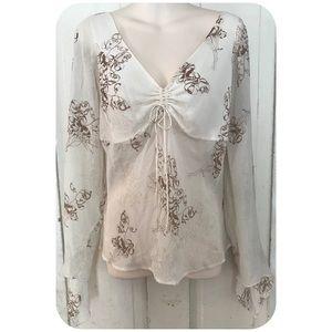 Ivory & Brown Silk BoHo Blouse Size Medium
