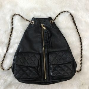Black Quilted Faux Leather Chain Straps Backpack