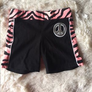 Justice Girls black tiger peace sign shorts 10