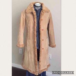 Steve Madden Leather Suede Faux Fur Winter Coat S