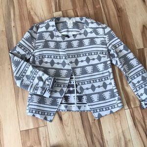 Black and white Aztec Moto jacket