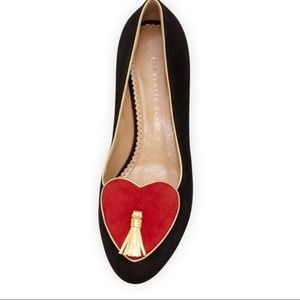 Charlotte Olympia Suede heart tassel flats