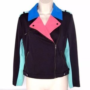 I Love Ronson Pastel Color Block Motorcycle Jacket