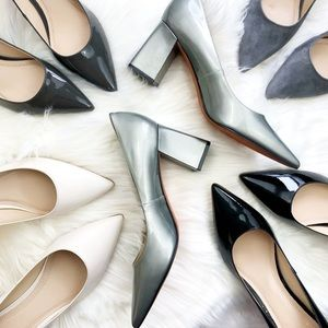 Silver/Pewter Patent Pointed Toe Block Heel Pumps