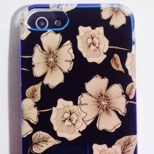 Lifestyle Case for iPhone5 Navy Blue & White Flora