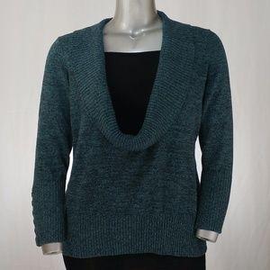 Blue-Green Deep Cowl Sweater w/Black Insert, 1X