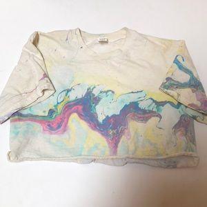 Vintage Tie Dye Watercolor Crop Top T Shirt