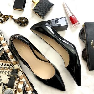 Black Patent Pointed Toe Block Heel Pumps