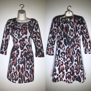 Bar III leopard print dress with sleeves, size M