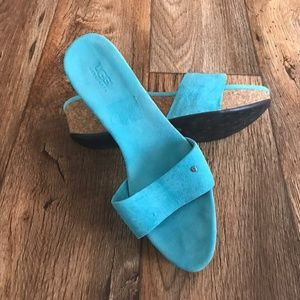 UGG Women's Sandal Shoe Wedges Slide Blue Leather