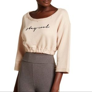 Free People MSRP $78 Graphic Print Knit Crop Pink