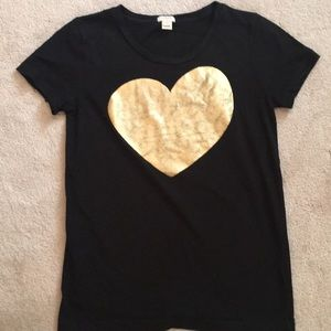 J. Crew black tee with gold heart