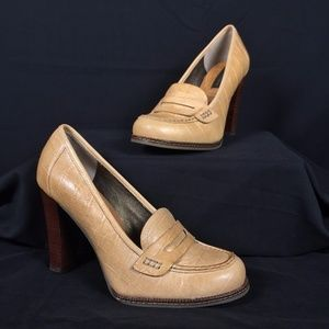 Tan Croc Embossed Leather High Heel Penny Loafers