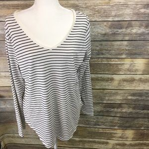 OldNavy White With Black Stripes Long Sleeve Shirt