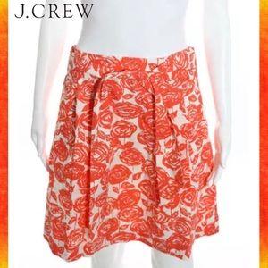 J CREW Orange/Wht Rose A-Line Skirt