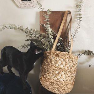 VINTAGE/ woven jute bucket bag