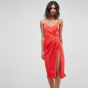 Red Cocktail Dress with High Slit
