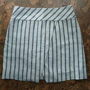 J Crew Linen Crossover Wrap Skirt Striped SZ 4
