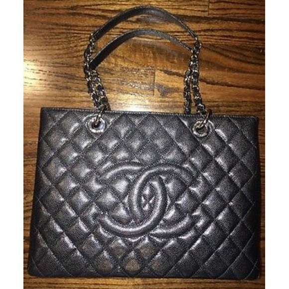 828d94eea73f Authentic Chanel Quilted Leather GST Black Caviar