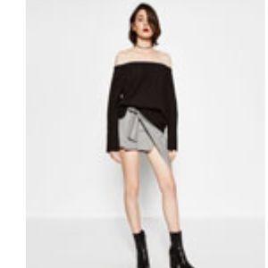 Zara black poplin off-the-shoulder top