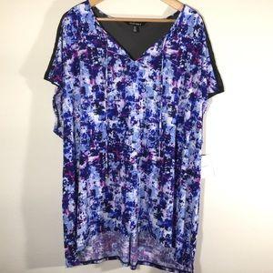 NWT Ellen Tracy Shirt Sheer panel back shoulder 3X