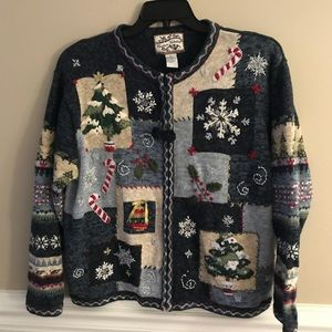 Vintage Embroidered Tacky ugly Christmas Sweater