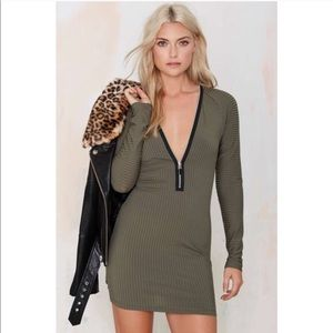 Nasty Gal Olive Zippered Bodycon Dress