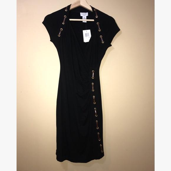 Nwt Carmen Marc Valvo Dress Black W Faux Leather | Poshmark