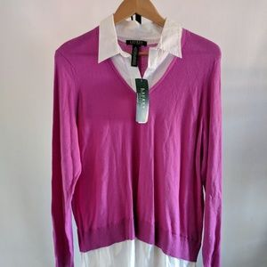 Lauren Purple Sweater Button Down Shirt Twofer 1X
