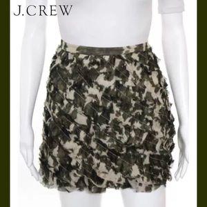 J CREW Chic Green/Cream Abstract Silk Ruffle Skirt