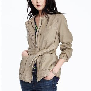 Banana Republic Tan Frayed Edge Military Jacket